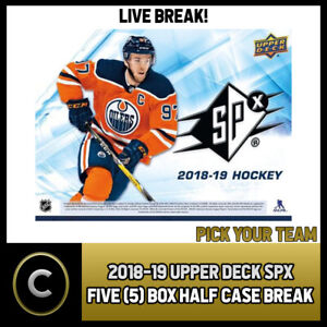 2018-19-UPPER-DECK-SPX-HOCKEY-5-BOX-1-2-CASE-BREAK-H346-PICK-YOUR-TEAM