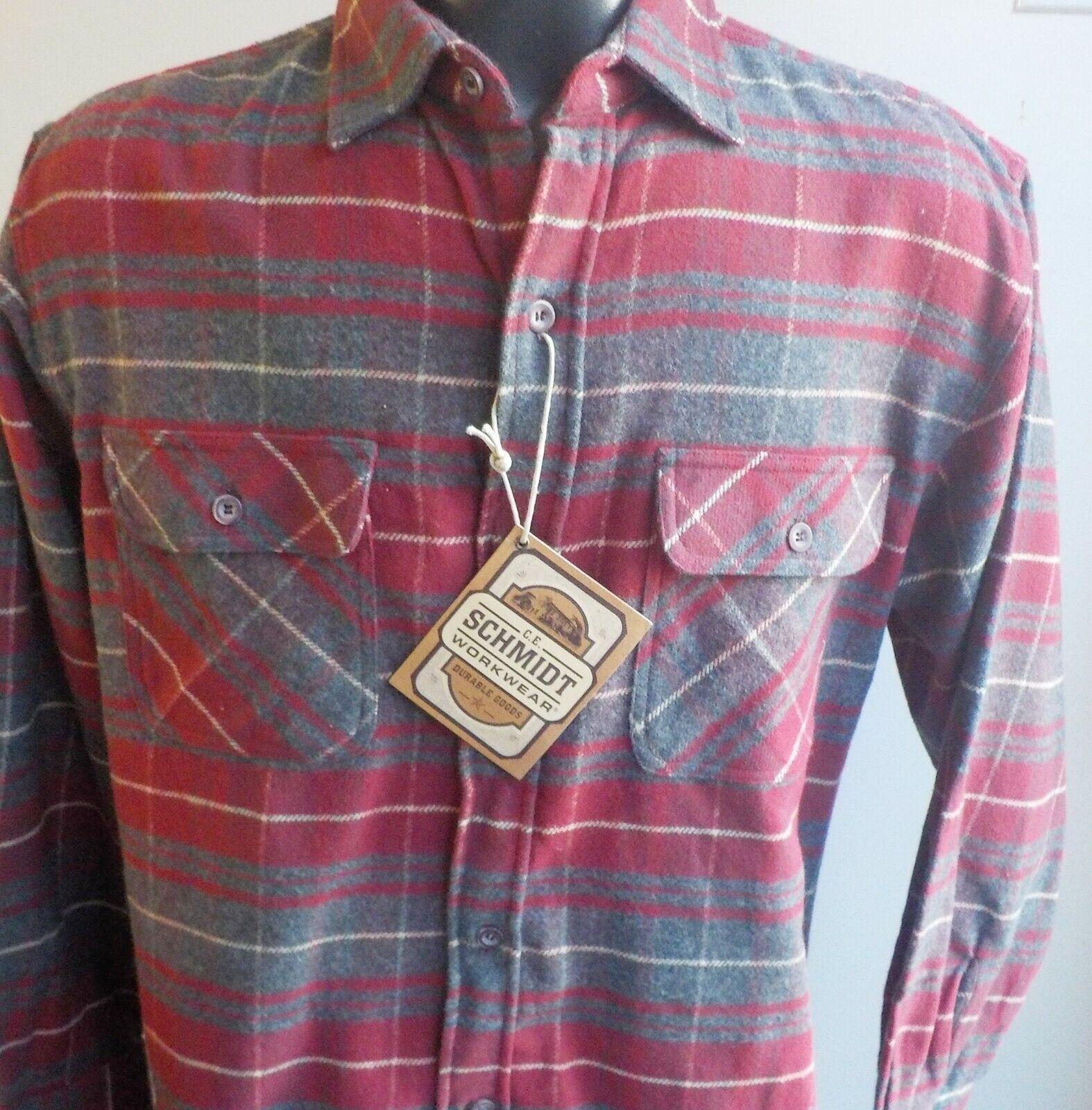c869d7453 E Schmidt Workwear Plaid Sleeve Heavy Cotton Shirt Red Medium Long C  nygxyh4594-Casual Button-Down Shirts