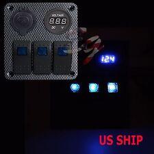 Blue CF S2 3 Gang Car Rocker Switch Panel USB Socket Plug Voltmeter Charger