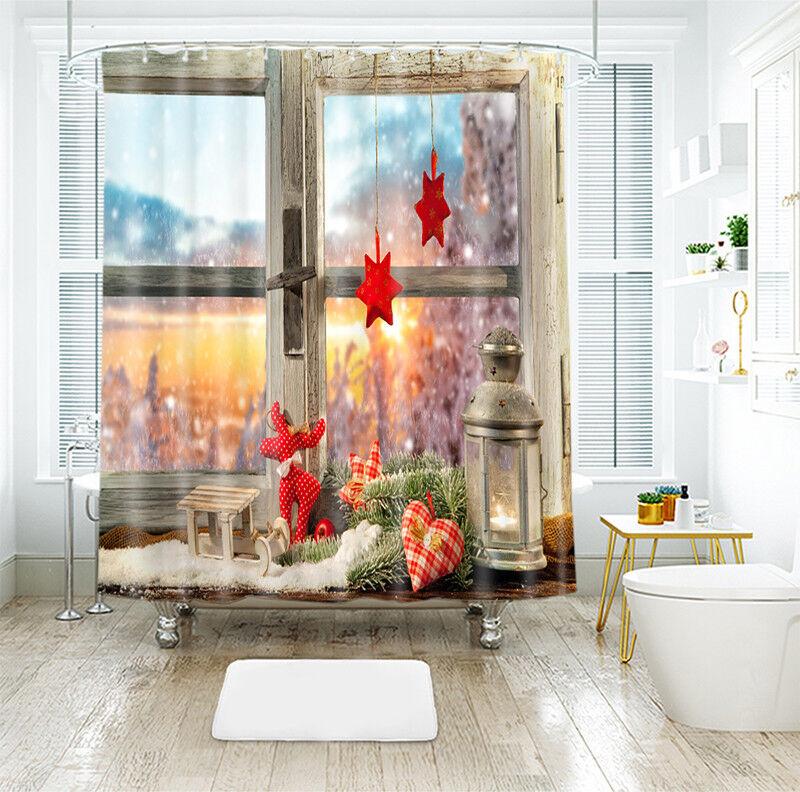 3D Natale Xmas 894 Tenda da Doccia Impermeabile Bagno in Fibra Casa Bagno
