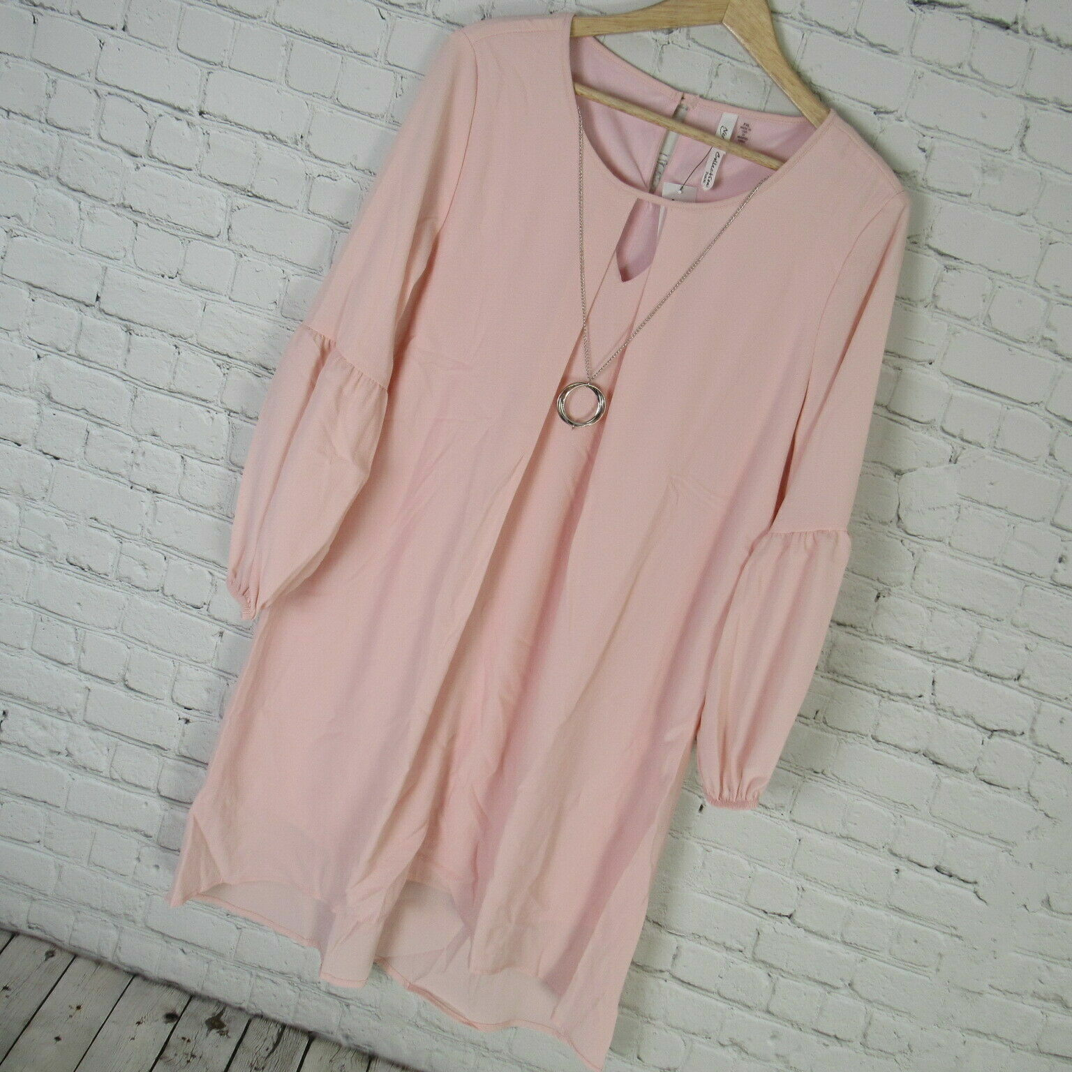 NY Collection Dress Womens PXL Pink Keyhold Shift High Low MSRP
