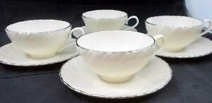 Lenox-China-WEATHERLY-4-Cup-amp-Saucer-Sets-Cream-D517-GREAT-CONDITION
