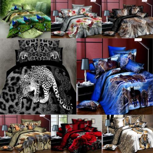 3D Animals Wolf Panda 3//4Pcs Bedding Set Duvet Cover Sheet Bedroom Pillow Case