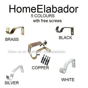 2-Pcs-Metal-Curtain-Pole-Holder-Brackets-S-Hooks-Silver-Brass-Black-Copper-White