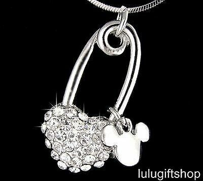 18K WHITE GOLD PLATED MICKEY MOUSE HEART PENDANT NECKLACE USE SWAROVSKI CRYSTALS