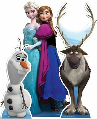 Frozen Anna Elsa Sven and Olaf Disney Lifesize CARDBOARD CUTOUT standup Set of 3