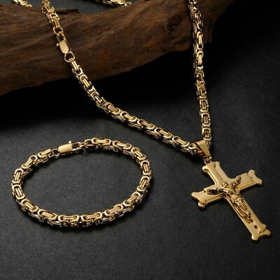 außergewöhnliche Farbpalette hochwertiges Design ausgereifte Technologien Herren Gold Armband Königskette Edelstahl MIT Kreuz Anhänger Schmuckset  60cm   eBay