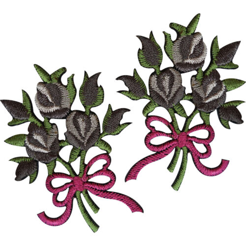 Pair of Bouquet Flowers Patches Iron Sew On Embroidered Patch Badge Grey Roses