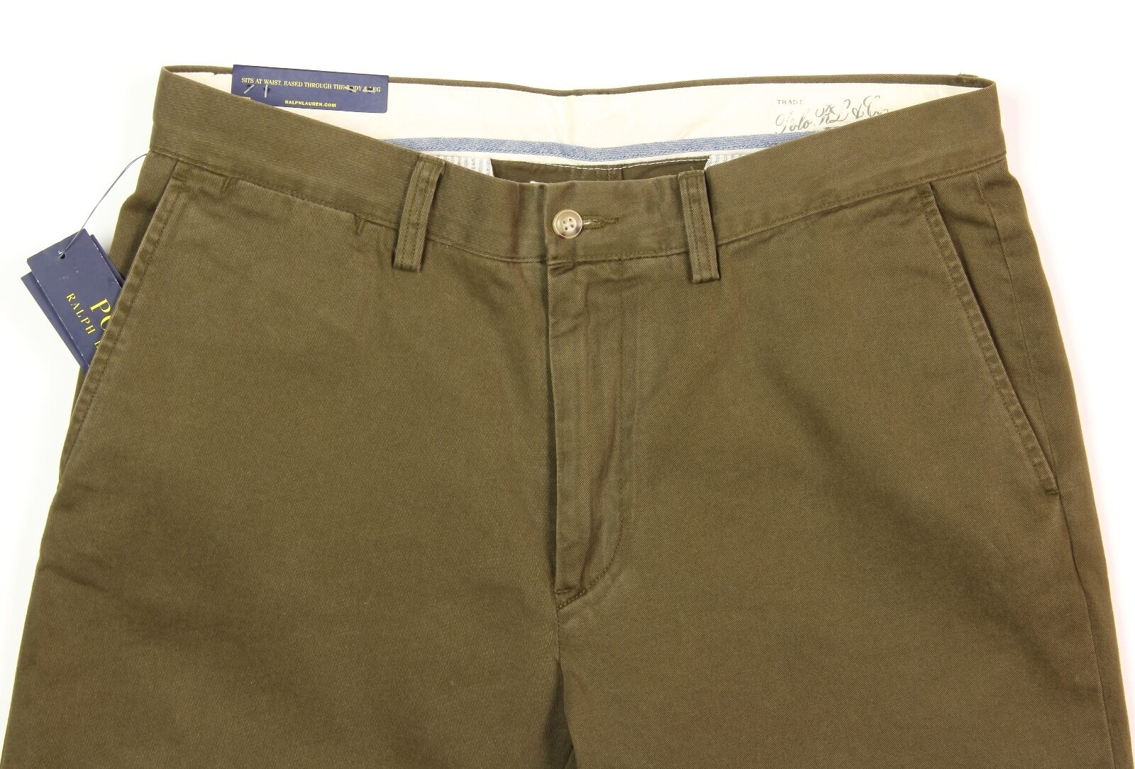 Men's POLO RALPH LAUREN Olive Green Cotton Pants 30x30 NEW NWT Classic Fit Nice