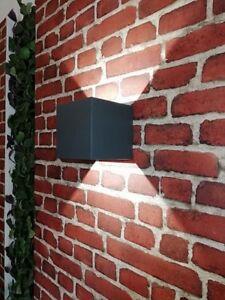 Details Zu Eckige Led Außenwandleuchte Up Down Anthrazit Außen Lampe Wandlampe Außenleuchte