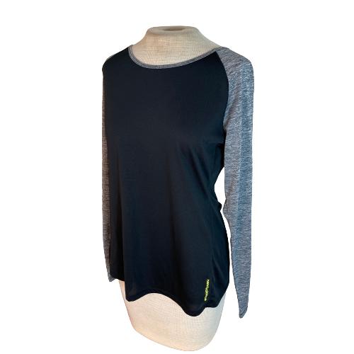 New Balance Womens Active Athletic Shirt Top Black Gray L Large