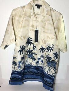 Oscar-Misa-Blue-Hawaiian-Palm-Trees-Blue-Waves-Men-039-s-Short-Sleeve-Med-Shirt