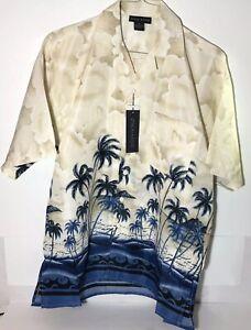 Oscar-Misa-Blue-Hawaiian-Palm-Tree-Graphic-Print-Men-039-s-Short-Sleeve-Lg-Shirt