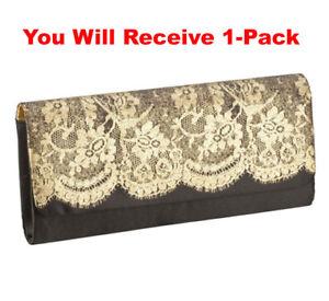 d492de4cf45 Womens Clutch Purse Elegant Black Gold Lace Evening Bag Nylon Satin ...