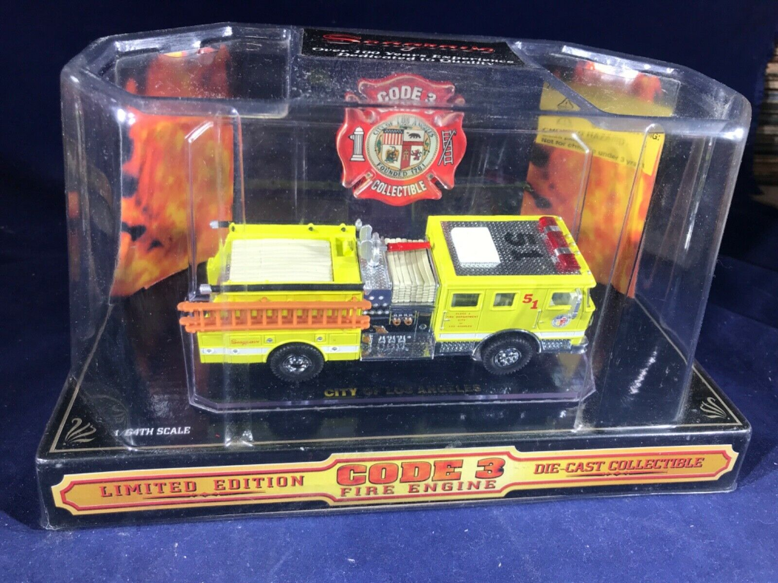 P-37 CODE 3 1 64 SCALE DIE CAST FIRE ENGINE - ENGINE 51 CITY OF LOS ANGELES FIRE