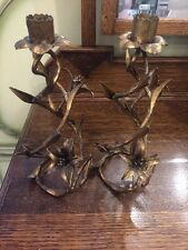 Vintage Antique Italian Tole Candlestick Candleholders Gold Gilt Flowers Shabby