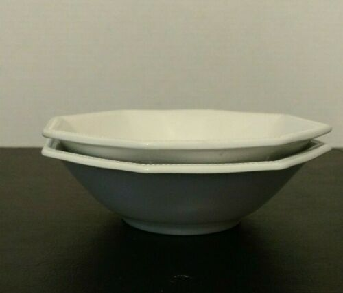 2 JOHNSTON BROTHERS HERITAGE SOUP//SALAD BOWL WHITE OCTAGON BEADED BORDER SET