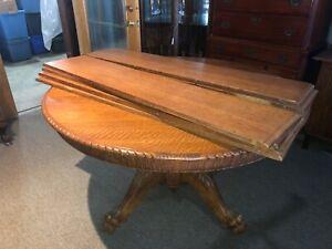 C1890 Hastings 54 Round Quartersawn Oak Antique Dining Room Table 8 11 5 Leaves Ebay