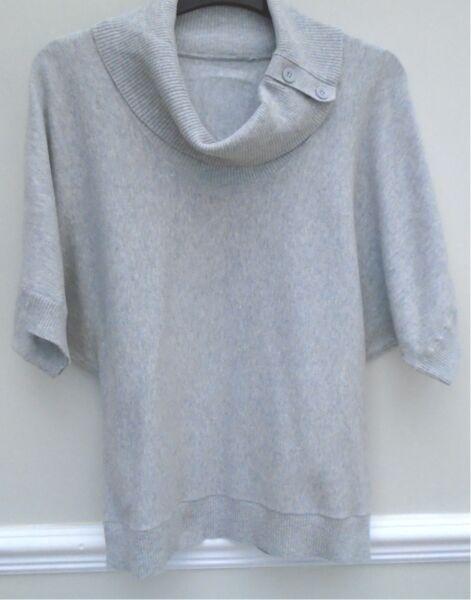 """""""nuovo Look"""" Indossata Due Volte, Grigio Chiaro, Cotone/nylon/dolman Maniche Top-taglia 14-lon/dolman Sleeves Top-size 14"""