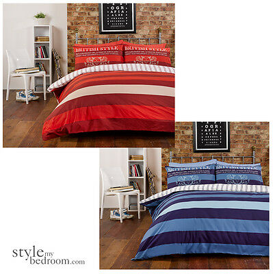 British Vintage Stripes & Reversible Pin Stripe Bedding Duvet Quilt Cover Set
