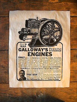 "VINTAGE REPRINT ADVERT GALLOWAY 1913 STATIONARY FARM GAS ENGINE 14/""x11/"" 474"