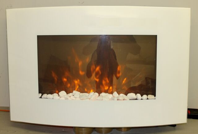 2015 LED FLAMES 7 COLOUR WHITE GLASS TRUFLAME CURVED WALL MOUNTED ELECTRIC FIRE