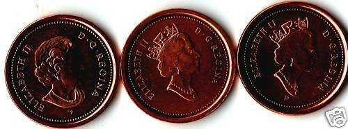 2003 Canada Small Cent Penny 3 Varieties Rare Set.