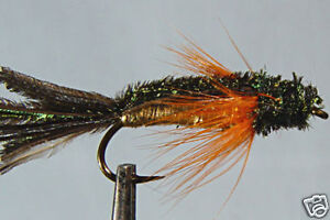 1 x Mouche de peche Streamer Booby Olive H8//10//12 fliegen mosca fly marabou