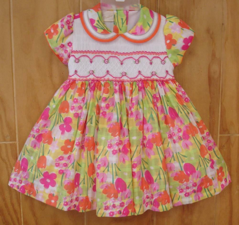 NWT Tutti Color Girl/'s Red Smocked Hand Embroidered Dress 2T 4 NEW Party Easter