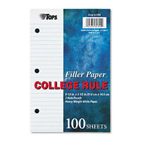 Tops Filler Paper 20-lb. 8-1 2 x 5-1 College Rule White 100 Sheets Pack TOP62304