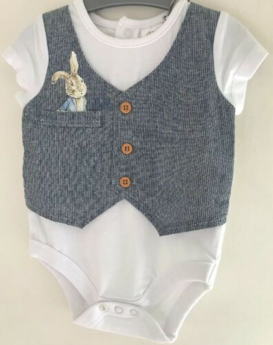 0-3 Months Peter Rabbit White Bodysuit With Integrated Navy /& White Waistcoat