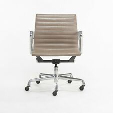 Greige Leather Herman Miller Eames Aluminum Group Management Desk Chair 24 Avail