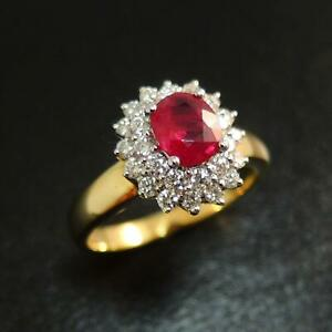 New-18-Carat-Gold-Ruby-amp-Diamond-Ring-0-66-Carat-Ruby