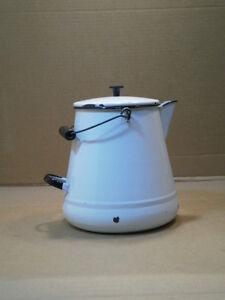Large vintage enamel ware enamelware graniteware coffee pot white w/ black trim