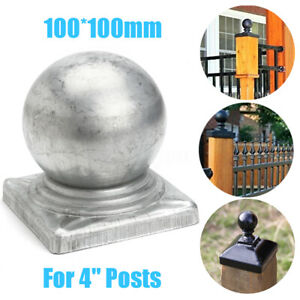 100mm-Silver-Metal-Square-Round-Finial-Gate-Fence-Gate-Post-Ball-Cap-Flange-UK