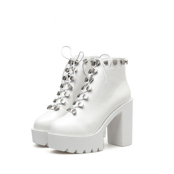 Bottines bottes Talon Carré Platform blanc 11.5 Cuir Synthetique 1682