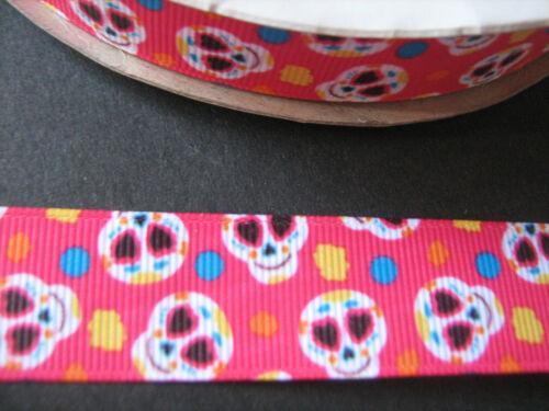 Cake Pink sugar skull grosgrain ruban 2,2 cm X 1 Mètre Couture Artisanat Costume
