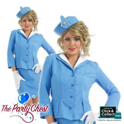 CABIN CREW BLUE AIR hostess Gon na Giacca Cappello Guanti Stewardess Adulto Costume 090