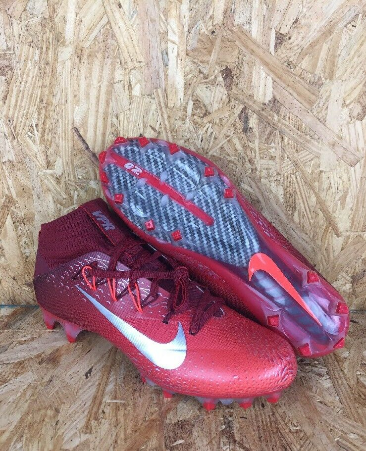 Nike Vapor Untouchable 2 Football Cleats Red Gray  Carbon Bottoms Size 8