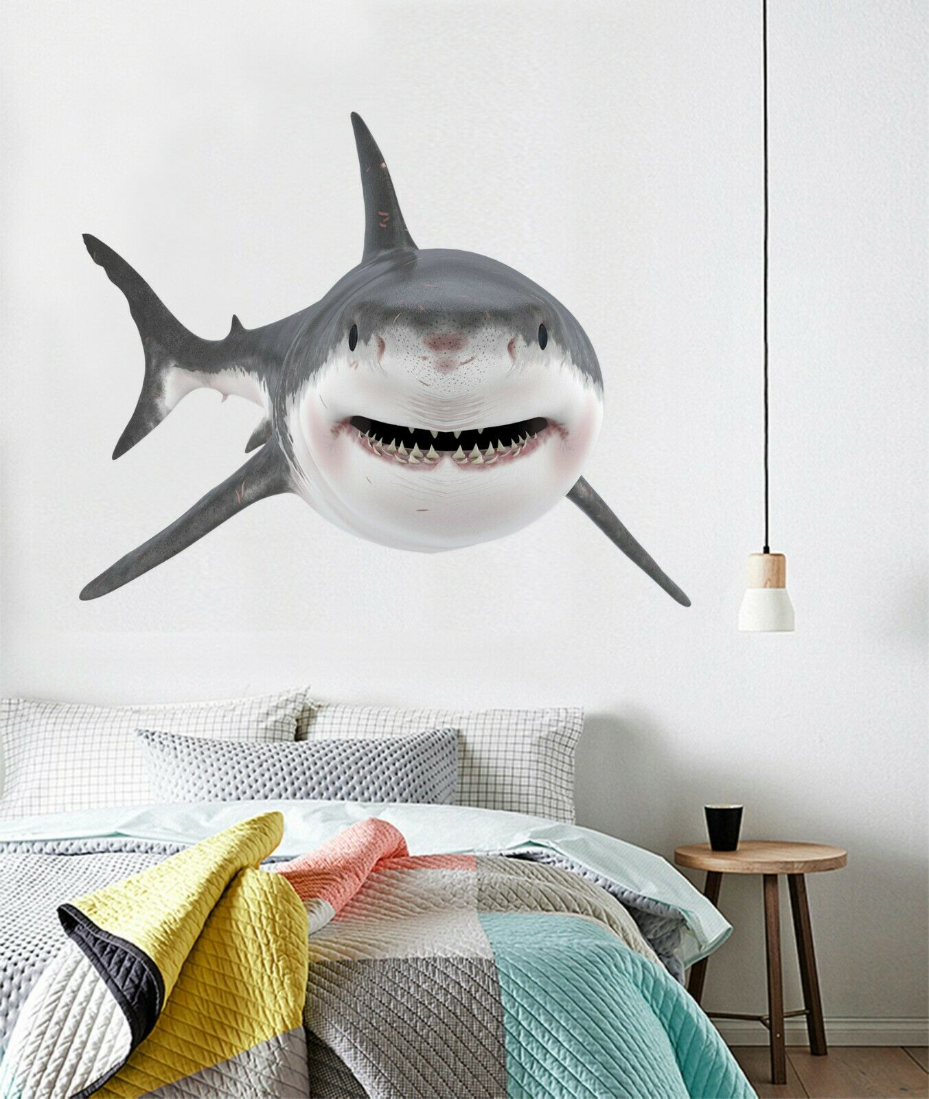 3D Smiling Shark P39 Animal Wallpaper Mural Self-adhesive Removable Zoe