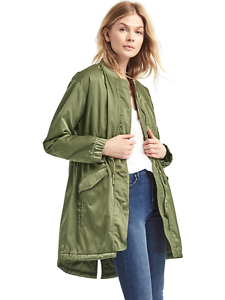 Gap Women's Long utility bomber parka,Walden Green  SIZE S         v1222