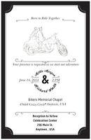 50 100 Motorcycle Harley Born Ride Personalized 5x7 Wedding Invitation Custom