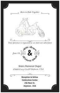 50-100-MOTORCYCLE-Harley-Born-Ride-PERSONALIZED-5X7-WEDDING-Invitation-Custom