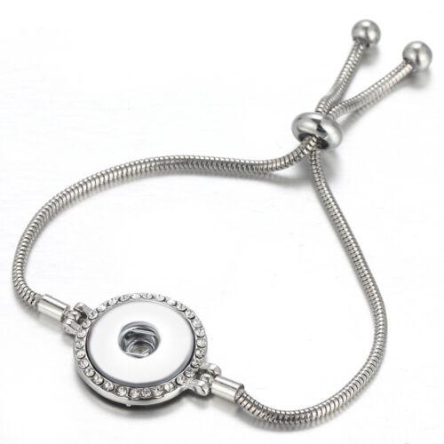 Argent Réglable Pull Fermeture Perceuse Bracelet Fit 18 mm Noosa Snaps Bouton GJ01