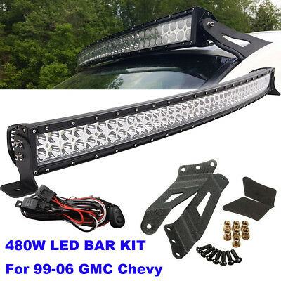"99-06 Chevy Suburban//Tahoe//Silverado 50/""+4/"" Curved LED Work Light Bar Combo Kit"