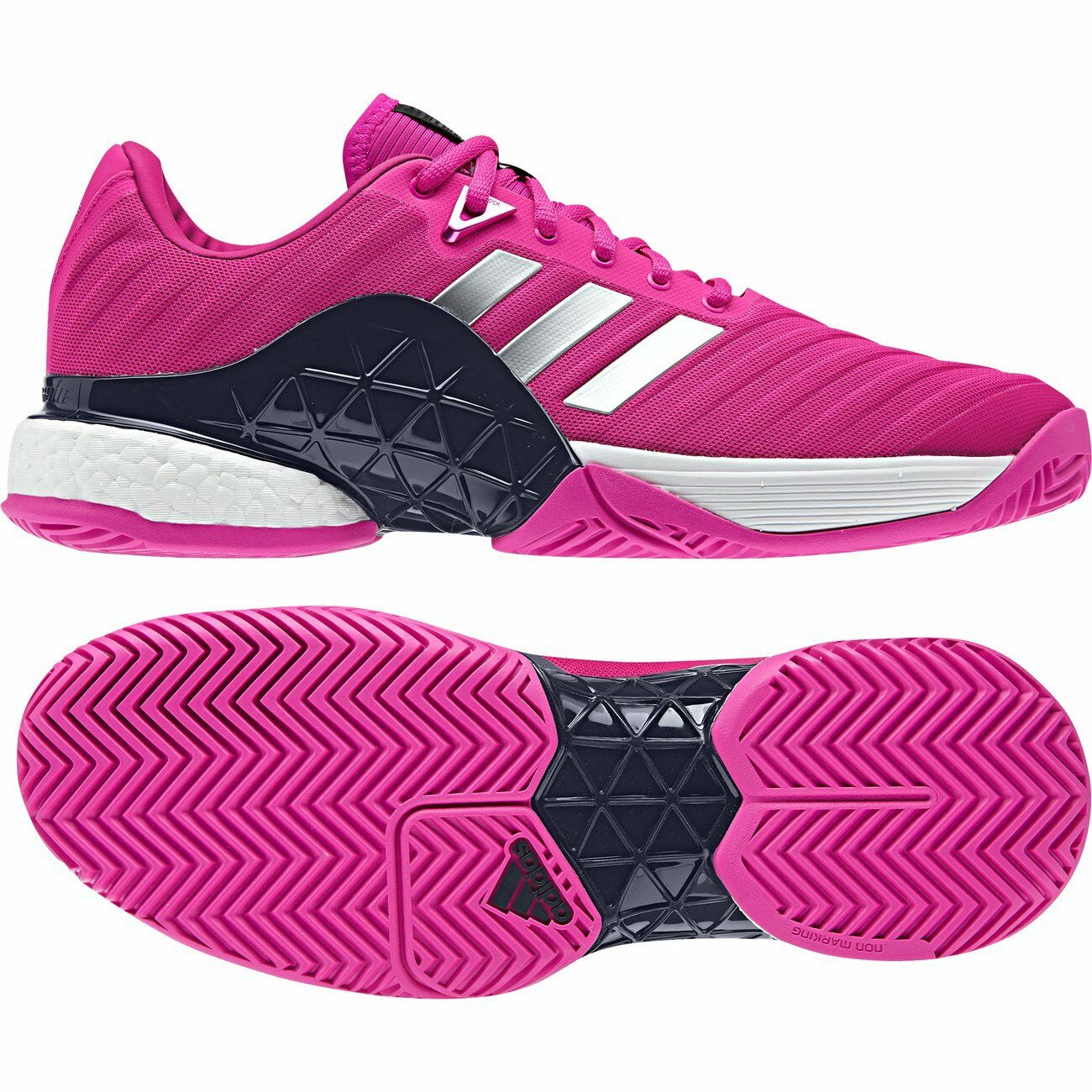 ADIDAS BARRICADE 2018 BOOST TENNIS SHOES MEN'S SIZE US 8 PINK AH2093