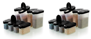 Tupperware Spice Shakers 8 Small /& 8 Large Clear Containers Black Seals NEW