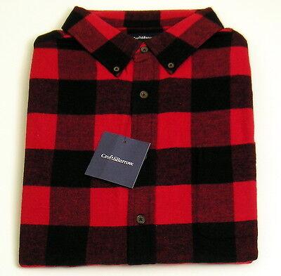 Mens Flannel Shirt Sz LT Classic Fit Red/Black Buffalo Plaid Croft & Barrow NWT