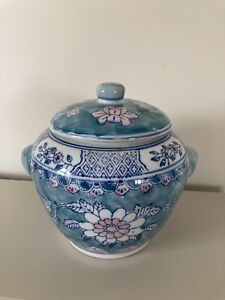 Antique Chinese Porcelain Lidded Pot Blue White And Pink VGC planter Ginger Rare