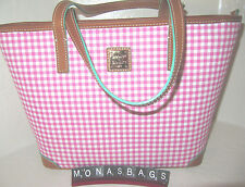 Dooney & Bourke Charleston PVC Shopper Pink Small Gingham Zip Top New NWT $228
